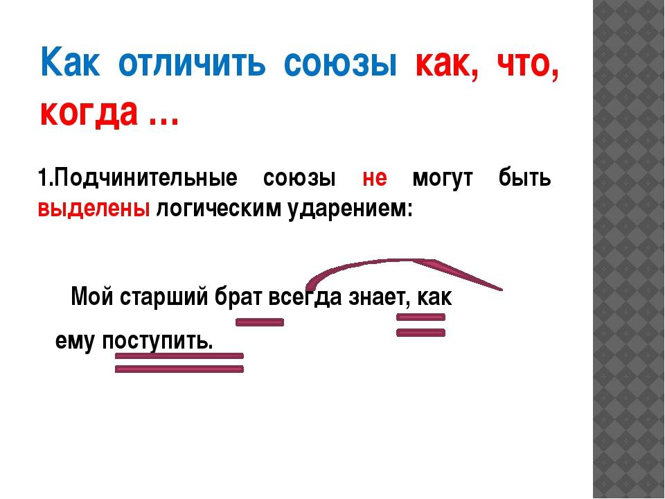 Как отличить союзы как, что, когда … 1.Подчинительные союзы не могут быть выд...