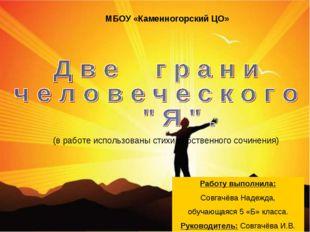 МБОУ «Каменногорский ЦО» Работу выполнила: Совгачёва Надежда, обучающаяся 5 «