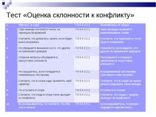Тест «Оценка склонности к конфликту» 1.Рветесь в спор7 6 5 4 3 2 1Уклоняет