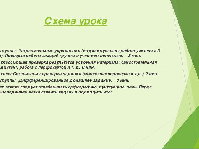 Схема урока 61,2,3 группыЗакрепительные упражнения (индивидуальная работа у...