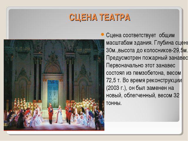 СЦЕНА ТЕАТРА Сцена соответствует общим масштабам здания. Глубина сцены 30м.,в...