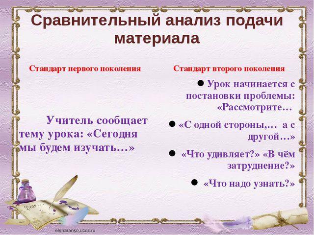 Сравнительный анализ подачи материала Стандарт первого поколения Учитель сооб...
