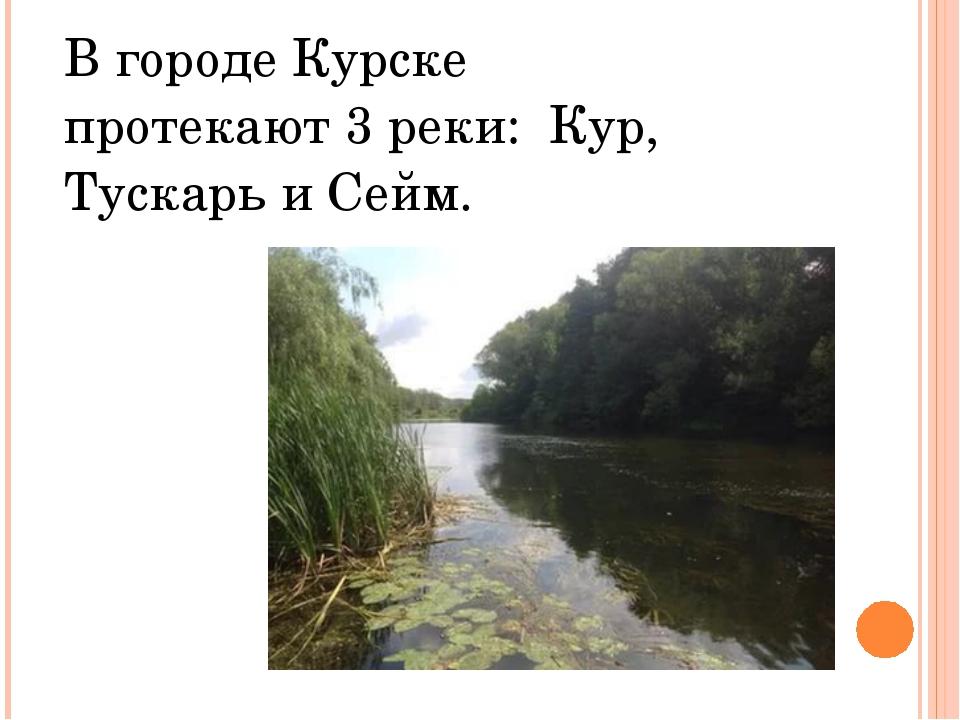 В городе Курске протекают 3 реки: Кур, Тускарь и Сейм.
