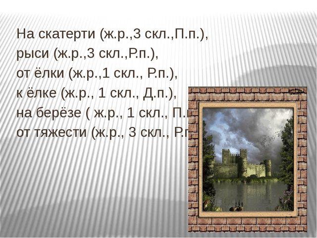 На скатерти (ж.р.,3 скл.,П.п.), рыси (ж.р.,3 скл.,Р.п.), от ёлки (ж.р.,1 скл...