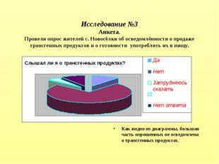 Исследование №3 Анкета. Провели опрос жителей с. Новосёлки об осведомлённост