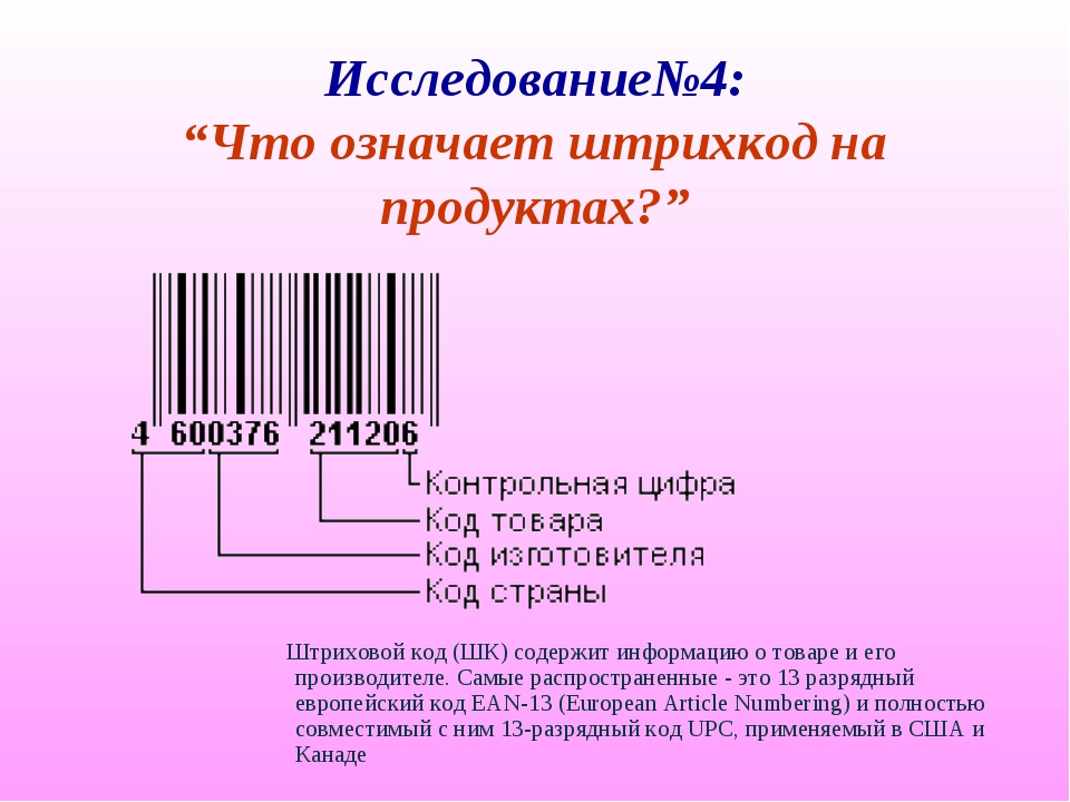"""Исследование№4: """"Что означает штрихкод на продуктах?"""" Штриховой код (ШК) соде..."""