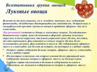 Вегетативная группа овощей Луковые овощи Имеют не только пищевое, но и лечебн