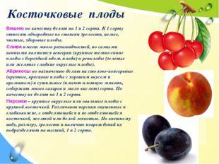 Косточковые плоды Вишню по качеству делят на 1 и 2 сорта. К 1 сорту относят о
