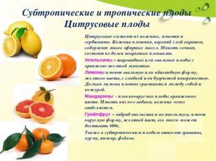Субтропические и тропические плоды Цитрусовые плоды Цитрусовые состоят из кож