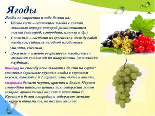 Ягоды Ягоды по строению плода делят на: Настоящие – одиночные плоды с сочной