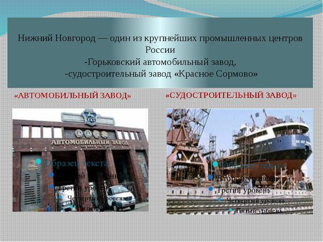 Нижний Новгород— один из крупнейших промышленных центров России -Горьковский...