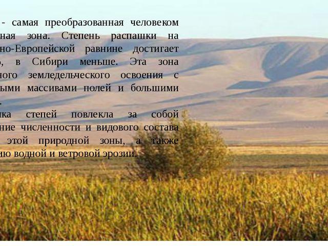 Степи - самая преобразованная человеком природная зона. Степень распашки на В...