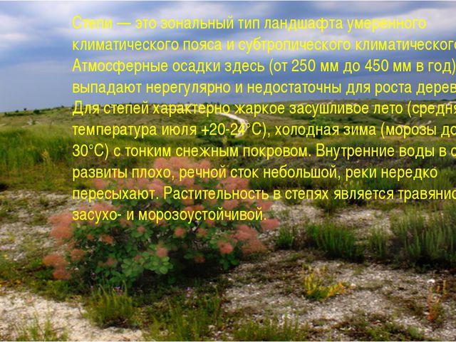 Степи — это зональный тип ландшафта умеренного климатического пояса и субтроп...
