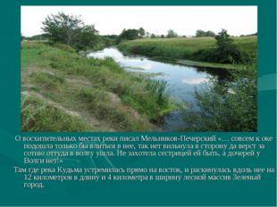 О восхитительных местах реки писал Мельников-Печерский «… совсем к оке подош