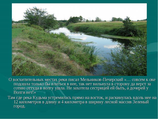 О восхитительных местах реки писал Мельников-Печерский «… совсем к оке подош...