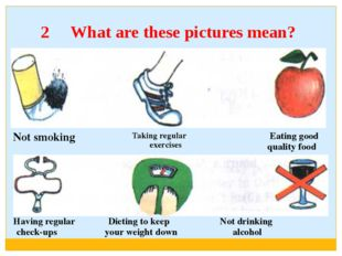 2 What are these pictures mean? Having regularDietingto keepNotdrinking check