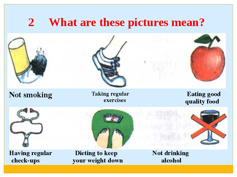 2 What are these pictures mean? Having regularDietingto keepNotdrinking check...