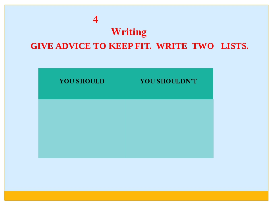 4 Writing GIVE ADVICE TO KEEP FIT. WRITE TWO LISTS. YOU SHOULD YOU SHOULDN'T