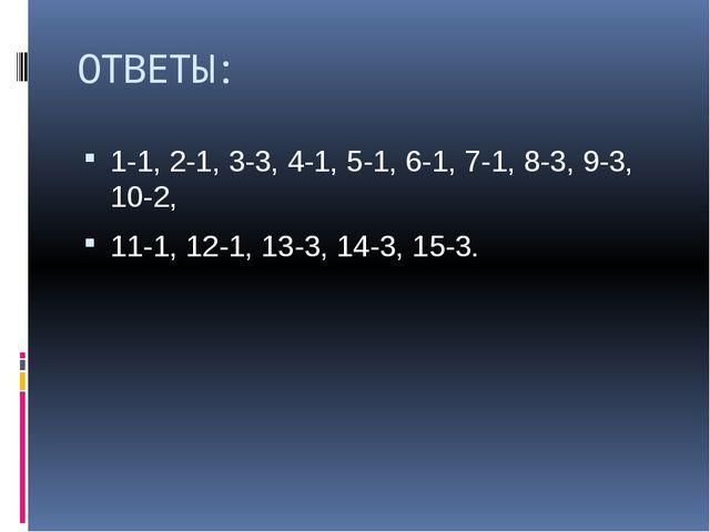 ОТВЕТЫ: 1-1, 2-1, 3-3, 4-1, 5-1, 6-1, 7-1, 8-3, 9-3, 10-2, 11-1, 12-1, 13-3,...