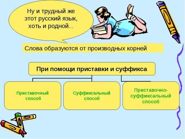 Ну и трудный же этот русский язык, хоть и родной… Слова образуются от произво...