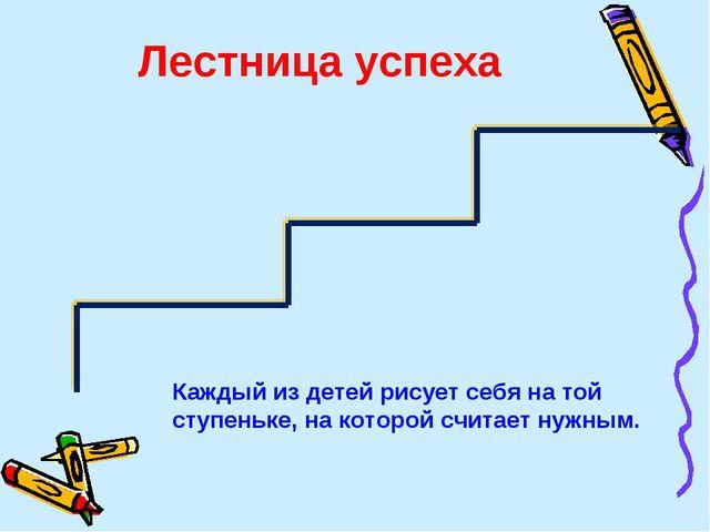 Лестница успеха Каждый из детей рисует себя на той ступеньке, на которой счит...