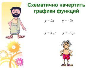 Схематично начертить графики функций y=2х y=- 3х y=4 y=-5