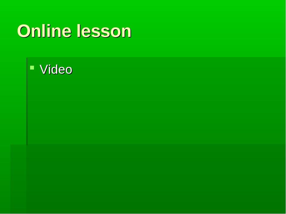 Online lesson Video