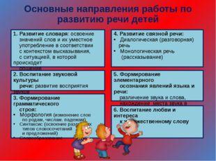 Основные направления работы по развитию речи детей 1. Развитие словаря: освое