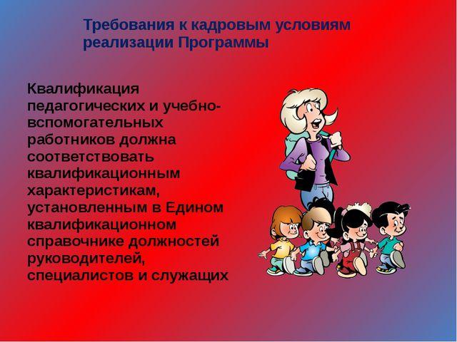 Требования к кадровым условиям реализации Программы Квалификация педагогическ...