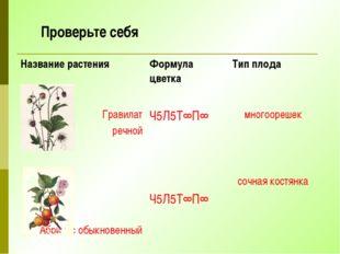 Проверьте себя Название растения Формула цветка Тип плода Гравилат речной Ч5Л