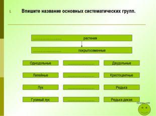 Впишите название основных систематических групп. …………………....... растения …………