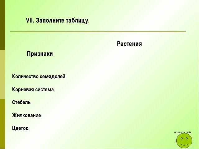 Заполните таблицу. проверь себя Признаки Растения Количество семядолей Корнев...