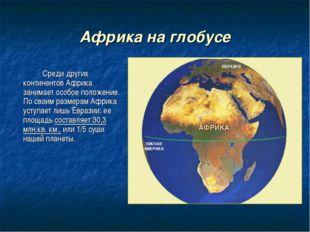 Африка на глобусе Среди других континентов Африка занимает особое положение