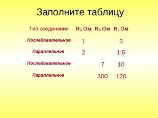 Заполните таблицу Тип соединенияR1, ОмR2, ОмR, Ом Последовательное13 Па