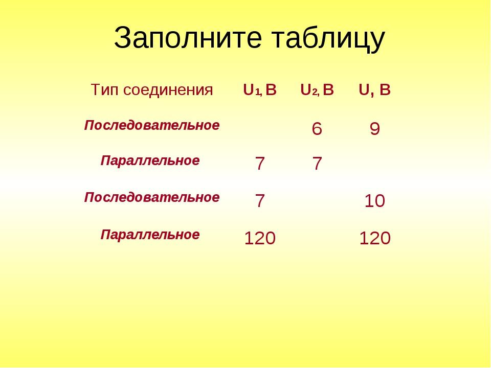 Заполните таблицу Тип соединенияU1, BU2, BU, B Последовательное69 Парал...