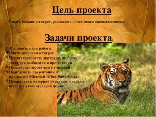 Узнать больше о тиграх, рассказать о них своим одноклассникам. Цель проек