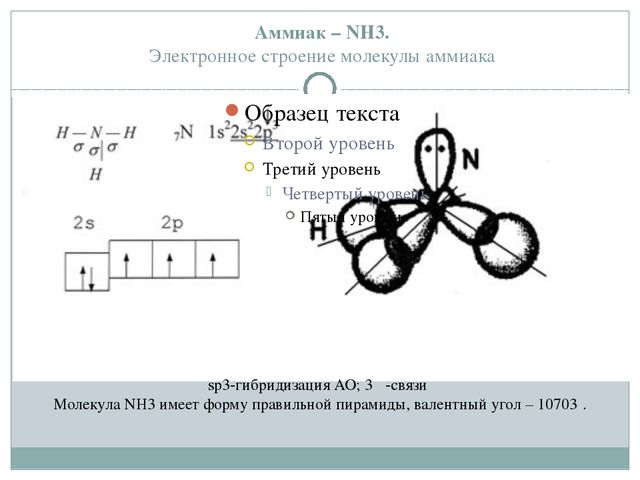 Аммиак – NH3. Электронное строение молекулы аммиака sp3-гибридизация АО; 3 σ...