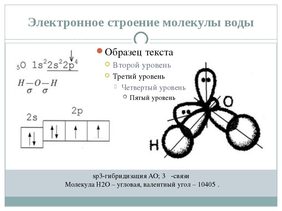 Электронное строение молекулы воды sp3-гибридизация АО; 3 σ-связи Молекула H2...