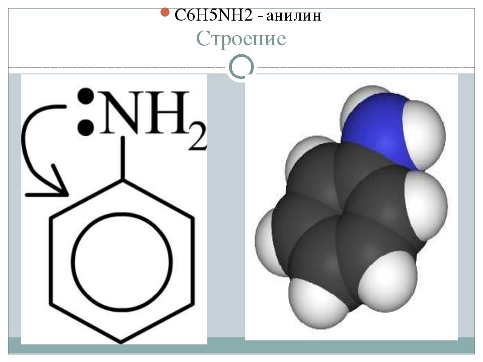 Строение C6H5NH2 - анилин