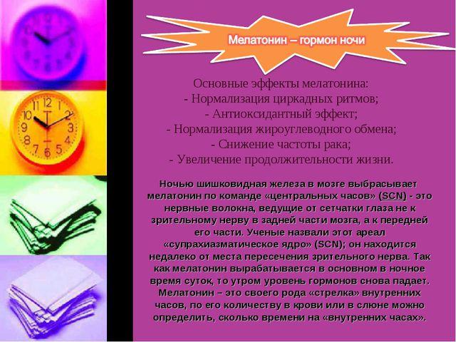 Основные эффекты мелатонина: - Нормализация циркадных ритмов; - Антиоксидант...