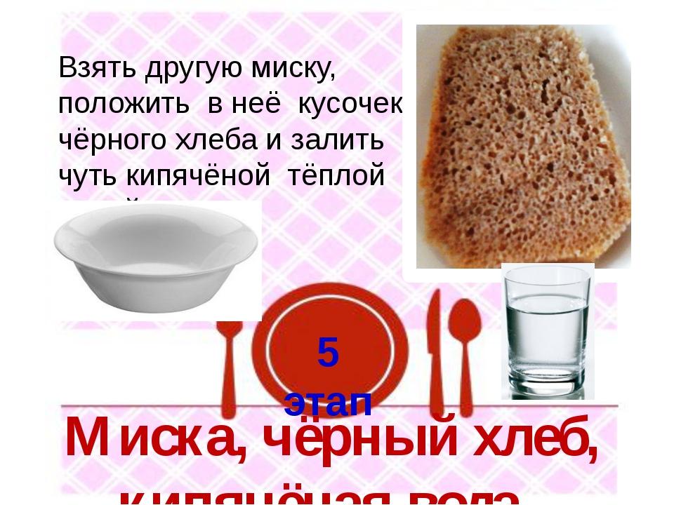 5 этап Взять другую миску, положить в неё кусочек чёрного хлеба и залить чуть...