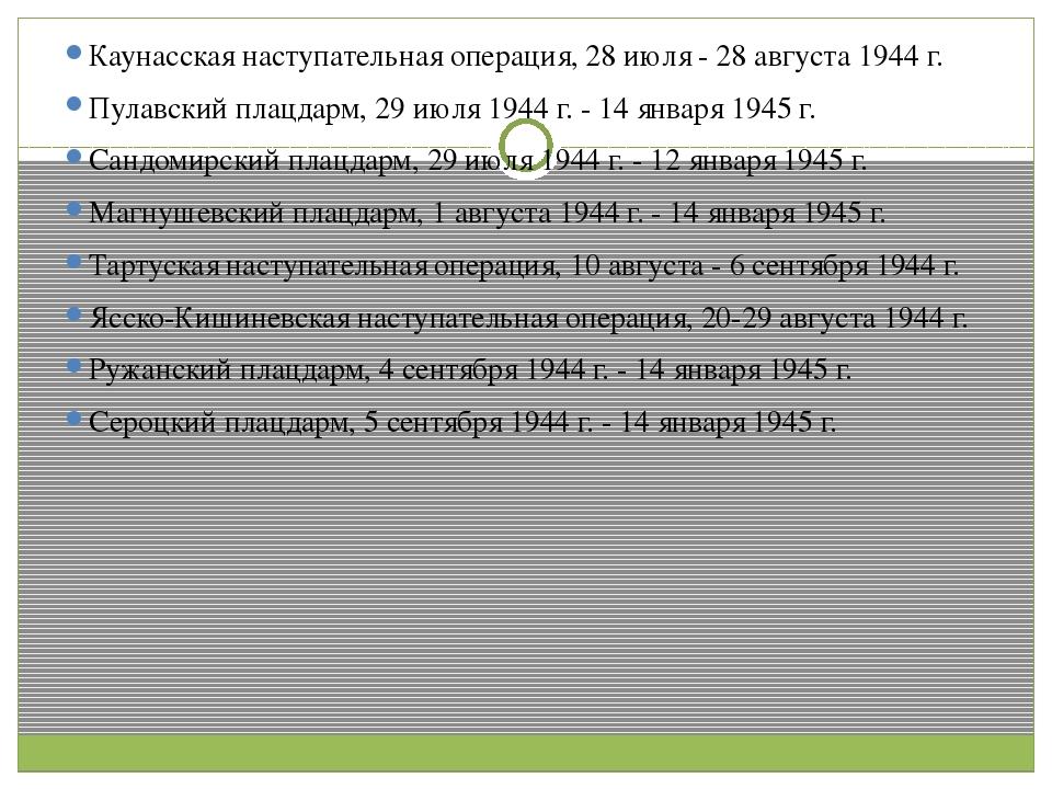 Каунасская наступательная операция, 28 июля - 28 августа 1944 г. Пулавский п...