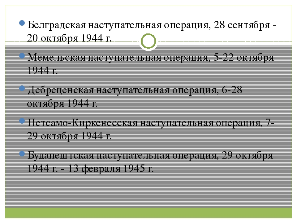 Белградская наступательная операция, 28 сентября - 20 октября 1944 г. Мемель...