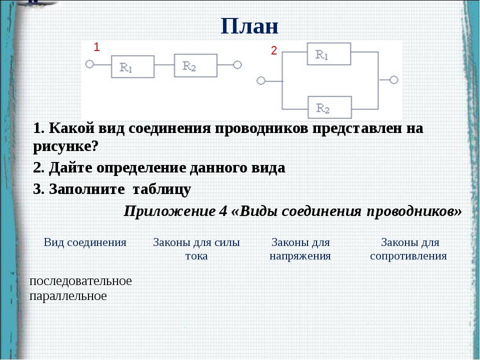 План 1. Какой вид соединения проводников представлен на рисунке? 2. Дайте оп...