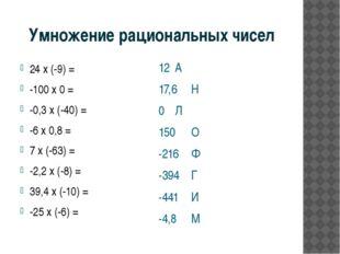Умножение рациональных чисел 24 х (-9) = -100 х 0 = -0,3 х (-40) = -6 х 0,8 =