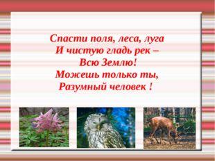 Спасти поля, леса, луга И чистую гладь рек – Всю Землю! Можешь только ты, Раз