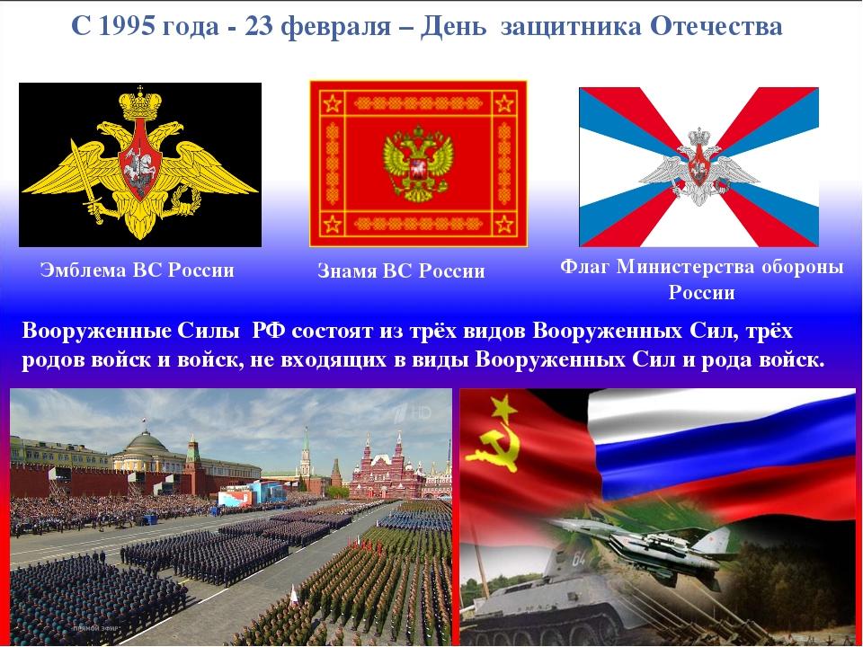 С 1995 года - 23 февраля – День защитника Отечества Вооруженные Силы РФ состо...