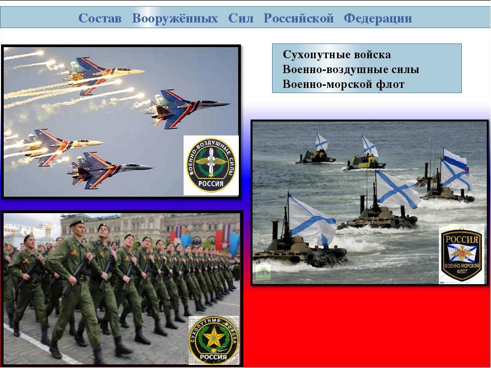 Состав Вооружённых Сил Российской Федерации Сухопутные войска Военно-воздушны...