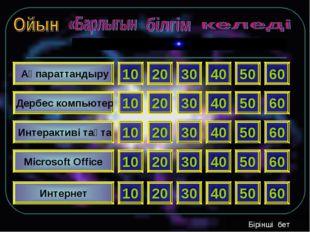 Ақпараттандыру Дербес компьютер Интерактиві тақта Microsoft Office Интернет
