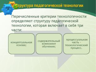Структура педагогической технологии Перечисленные критерии технологичности оп